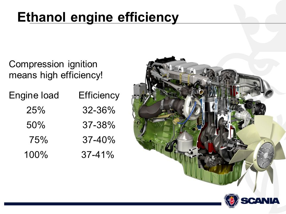 Ethanol engine efficiency Compression ignition means high efficiency.