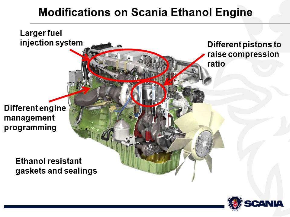 Different pistons to raise compression ratio Larger fuel injection system Ethanol resistant gaskets and sealings Different engine management programming Modifications on Scania Ethanol Engine