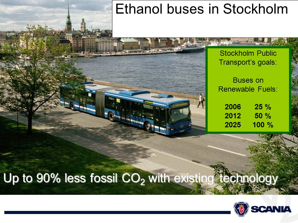 Ethanol buses in Stockholm Up to 90% less fossil CO 2 with existing technology Stockholm Public Transport's goals: Buses on Renewable Fuels: 200625 % 201250 % 2025100 %
