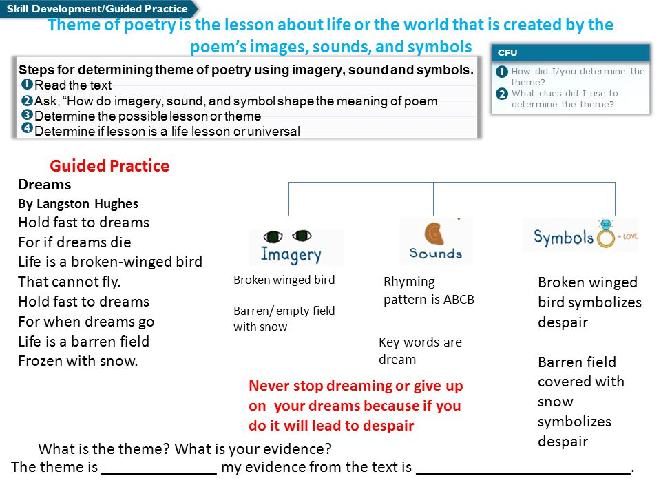 Skill Development/Guided Practice What is the theme.