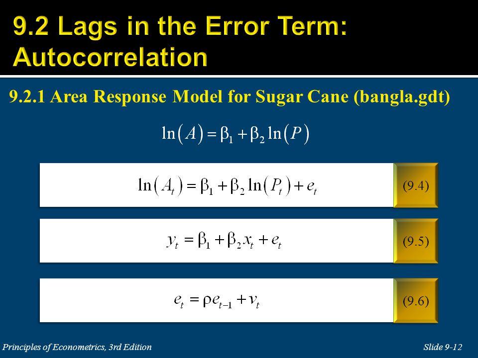 9.2.1 Area Response Model for Sugar Cane (bangla.gdt)
