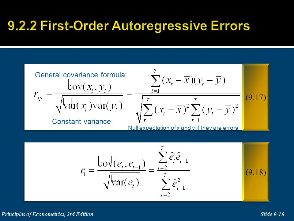 Constant variance Null expectation of x and y if they are errors General covariance formula: