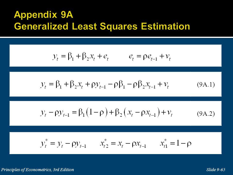 Slide 9-65 Principles of Econometrics, 3rd Edition (9A.2) (9A.1)