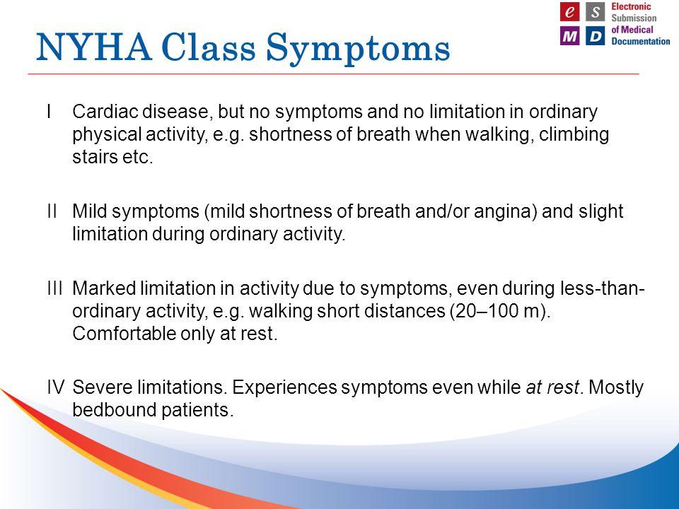 NYHA Class Symptoms lCardiac disease, but no symptoms and no limitation in ordinary physical activity, e.g. shortness of breath when walking, climbing