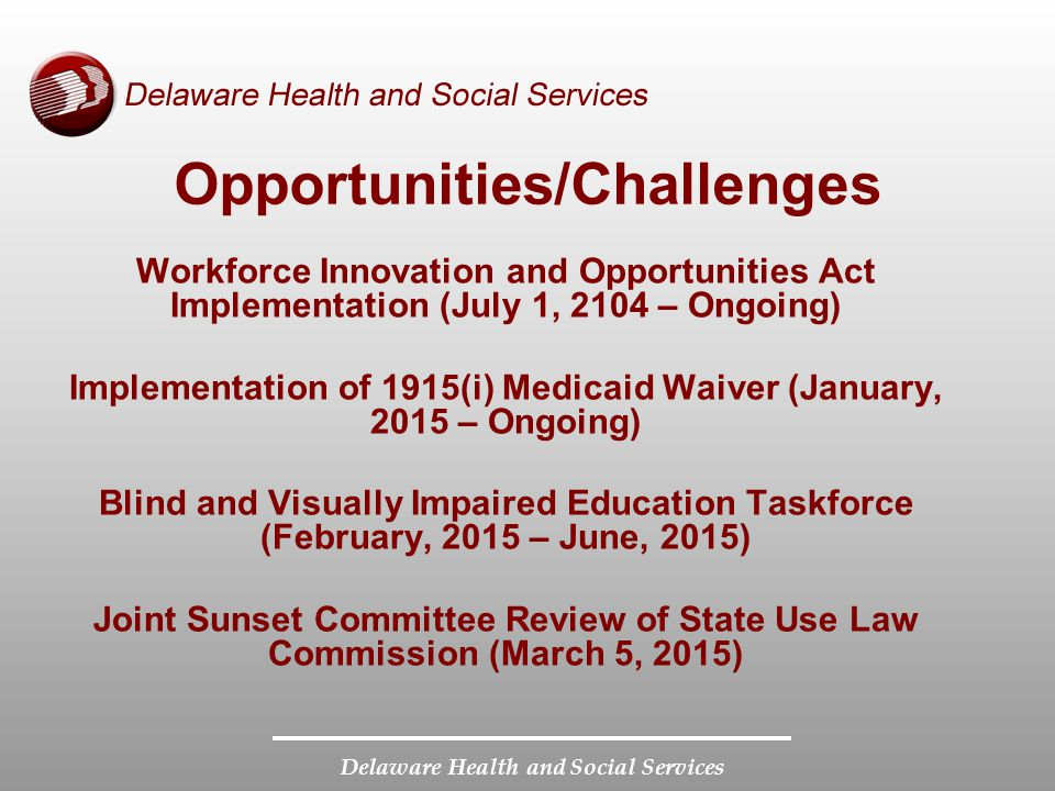 Delaware Health and Social Services Opportunities/Challenges Workforce Innovation and Opportunities Act Implementation (July 1, 2104 – Ongoing) Implem