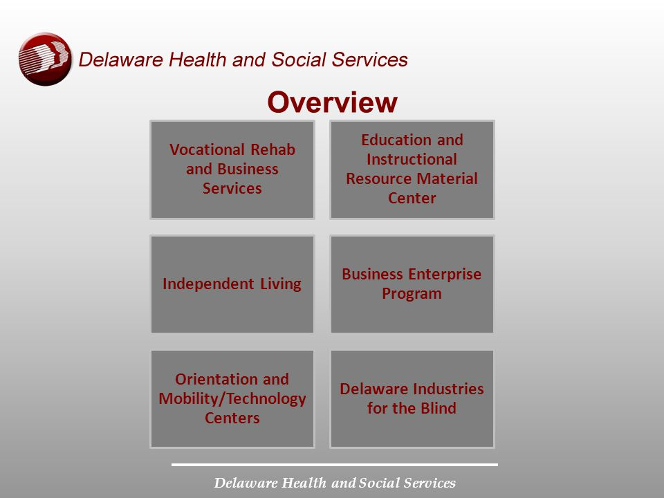 Delaware Health and Social Services Overview Vocational Rehab and Business Services Education and Instructional Resource Material Center Independent L