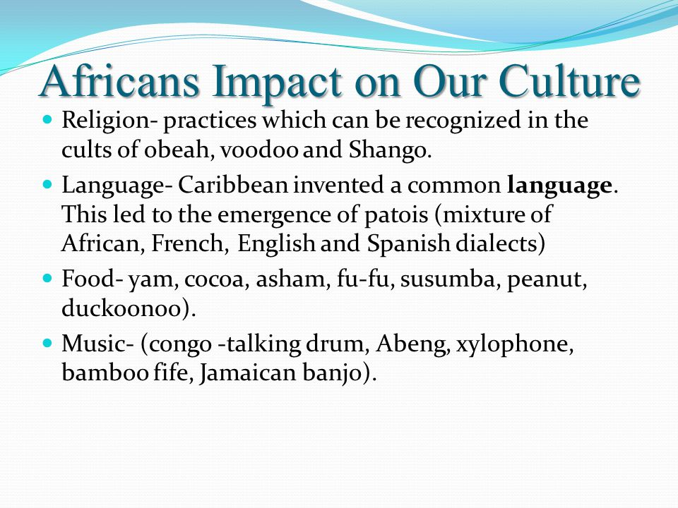The Africans came to the Caribbean in the 17 th, 18 th and 19 th century. Millions of Africans were imported into the Caribbean society by the whites