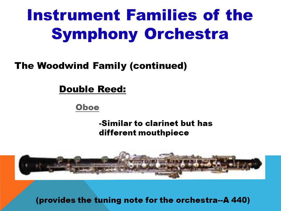 Instrument Families of the Symphony Orchestra The Woodwind Family (continued) Single Reed: Saxophone - The only woodwind instrument not found in the o