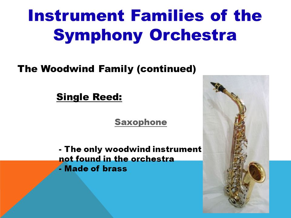 Instrument Families of the Symphony Orchestra The Woodwind Family (continued) Single Reed: Bass Clarinet - Larger than clarinet - Plays lower