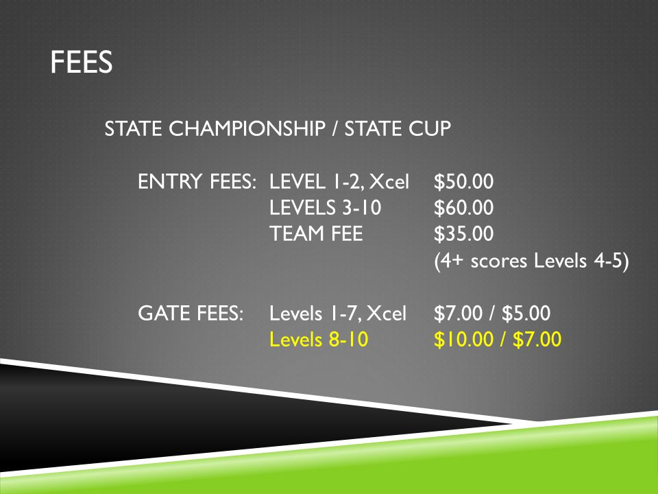 FEES STATE CHAMPIONSHIP / STATE CUP ENTRY FEES:LEVEL 1-2, Xcel$50.00 LEVELS 3-10$60.00 TEAM FEE$35.00 (4+ scores Levels 4-5) GATE FEES:Levels 1-7, Xcel$7.00 / $5.00 Levels 8-10$10.00 / $7.00