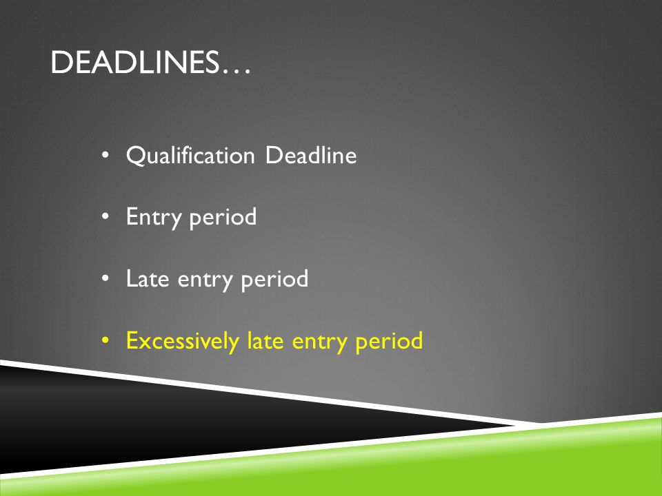 DEADLINES… Qualification Deadline Entry period Late entry period Excessively late entry period