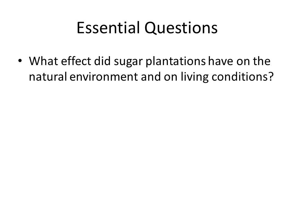 Essential Questions What effect did sugar plantations have on the natural environment and on living conditions
