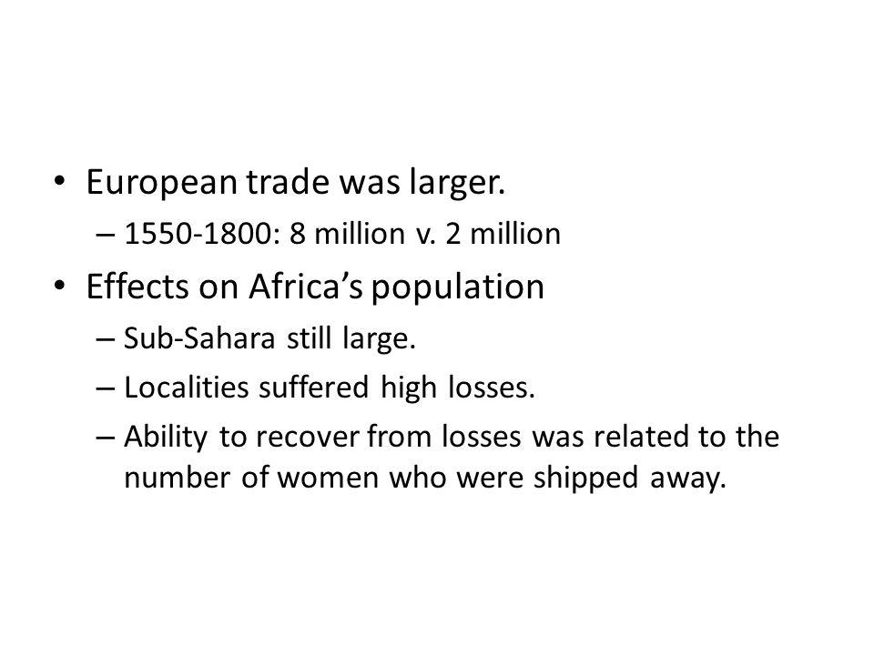 European trade was larger. – 1550-1800: 8 million v.