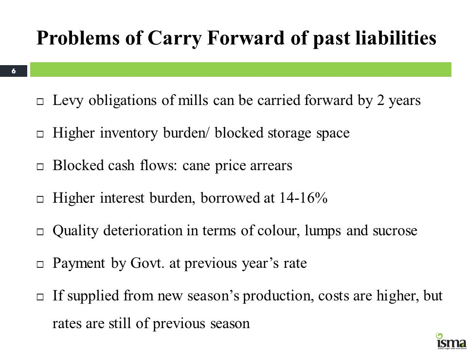Problems of Carry Forward of past liabilities  Levy obligations of mills can be carried forward by 2 years  Higher inventory burden/ blocked storage space  Blocked cash flows: cane price arrears  Higher interest burden, borrowed at 14-16%  Quality deterioration in terms of colour, lumps and sucrose  Payment by Govt.