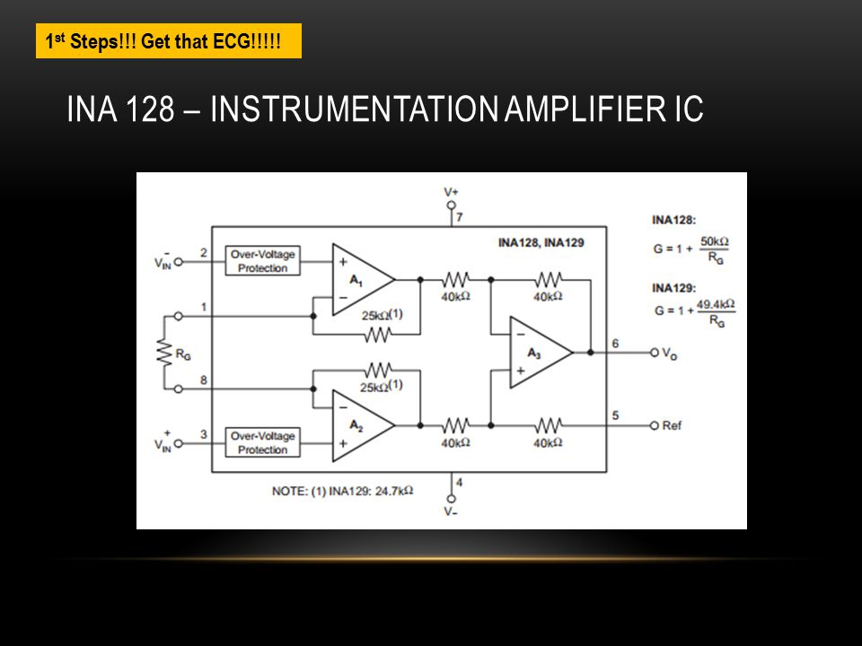 INA 128 – INSTRUMENTATION AMPLIFIER IC 1 st Steps!!! Get that ECG!!!!!