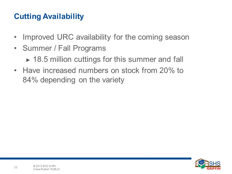 © 2013 SHS Griffin Classification: PUBLIC 11 Cutting Availability Improved URC availability for the coming season Summer / Fall Programs ► 18.5 millio