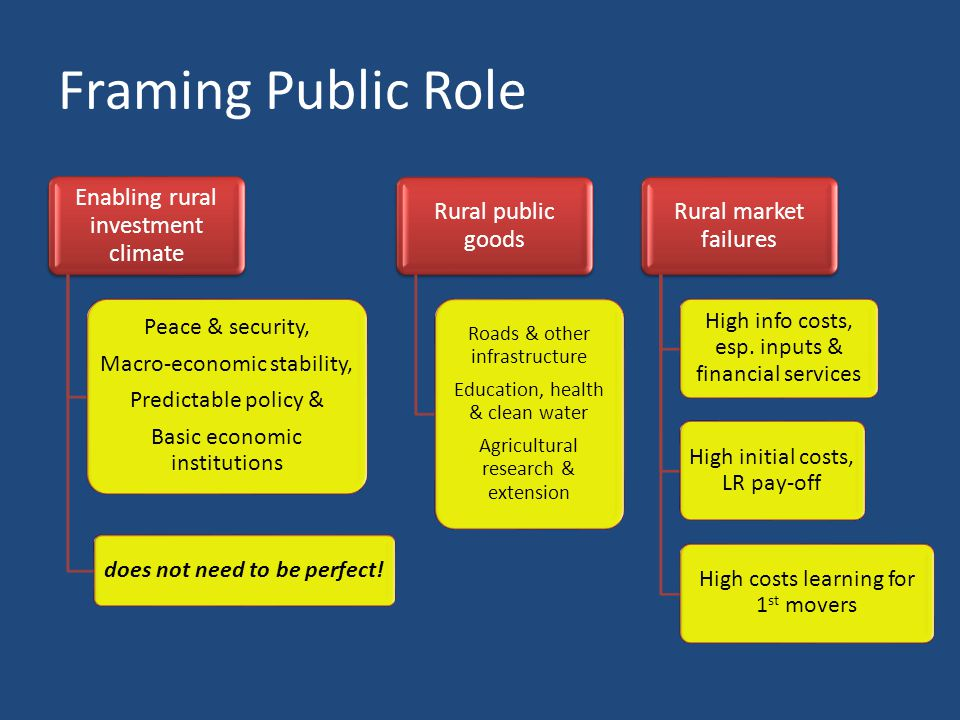 Framing Public Role Enabling rural investment climate Peace & security, Macro-economic stability, Predictable policy & Basic economic institutions does not need to be perfect.