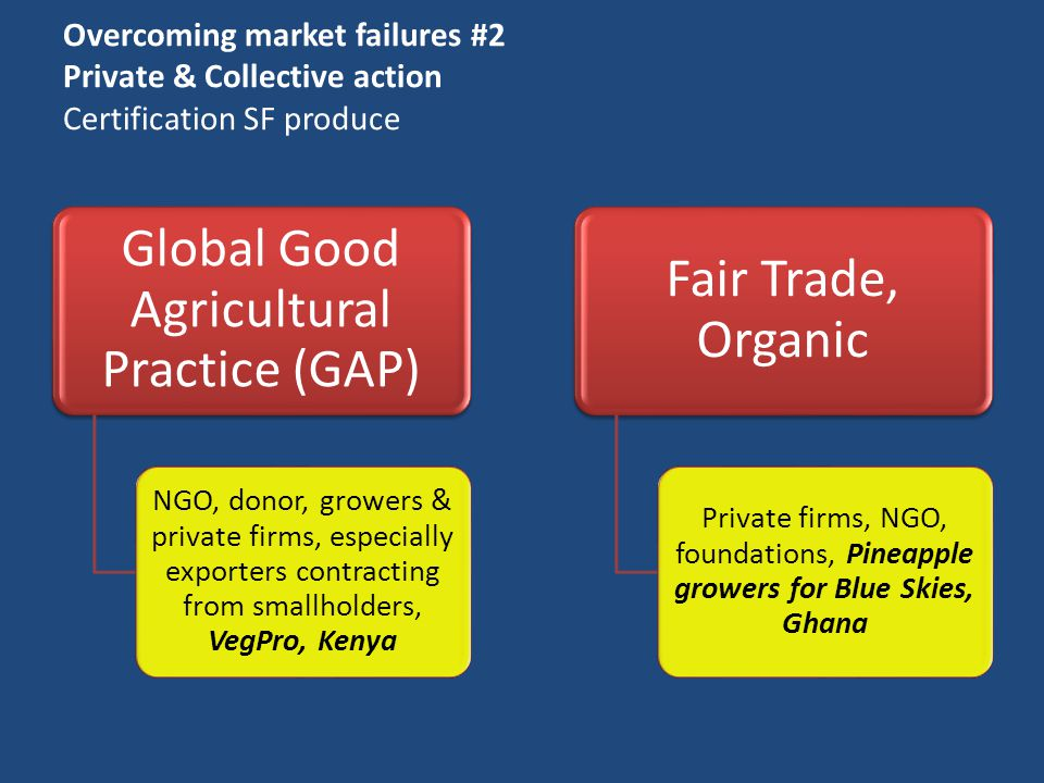 Overcoming market failures #2 Private & Collective action Certification SF produce Global Good Agricultural Practice (GAP) NGO, donor, growers & private firms, especially exporters contracting from smallholders, VegPro, Kenya Fair Trade, Organic Private firms, NGO, foundations, Pineapple growers for Blue Skies, Ghana