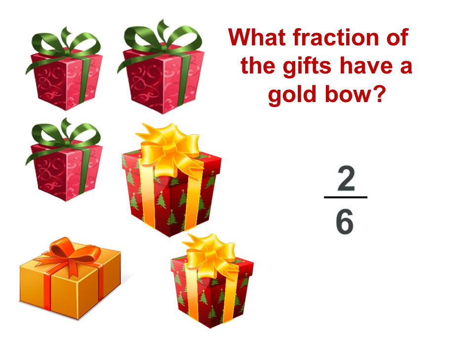 What fraction of the gifts have a gold bow?