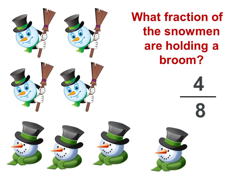 What fraction of the snowmen are holding a broom?