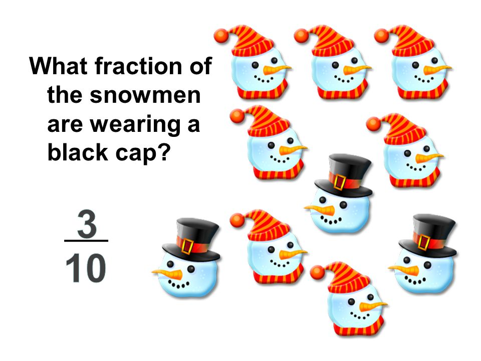 What fraction of the snowmen are wearing a black cap?