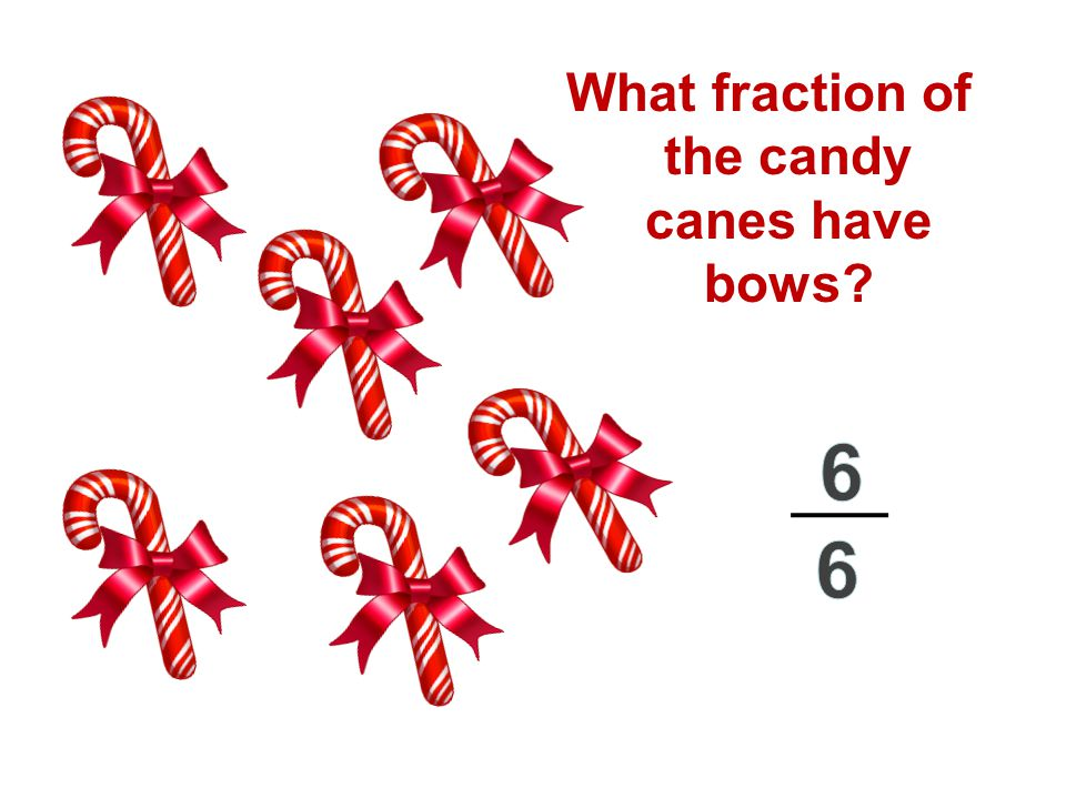 What fraction of the candy canes have bows?