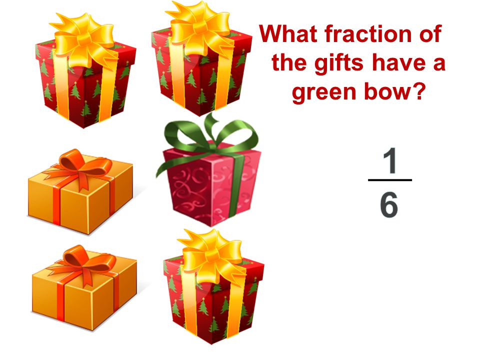 What fraction of the gifts have a green bow?