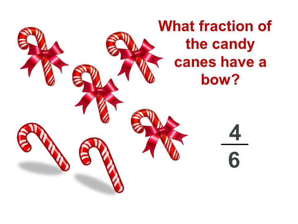 What fraction of the candy canes have a bow?
