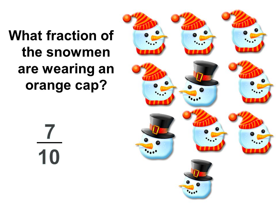 What fraction of the snowmen are wearing an orange cap?