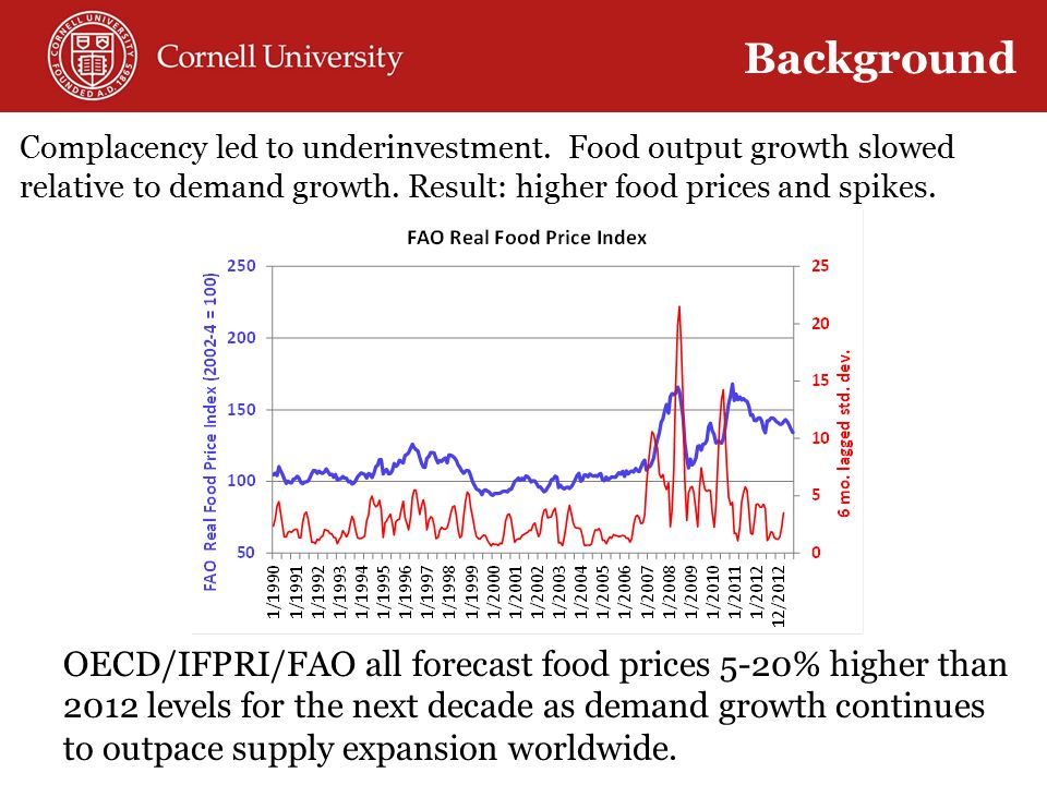Complacency led to underinvestment. Food output growth slowed relative to demand growth.