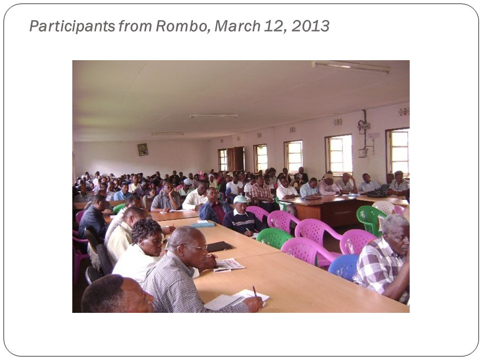 Participants from Rombo, March 12, 2013