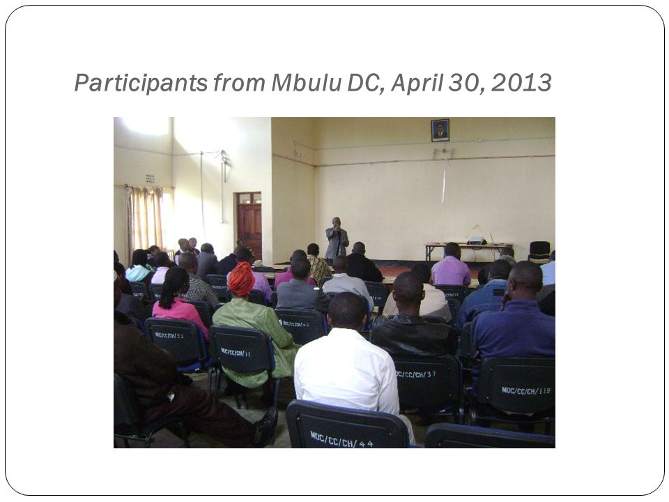 Participants from Mbulu DC, April 30, 2013