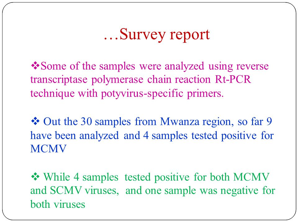 …Survey report  Some of the samples were analyzed using reverse transcriptase polymerase chain reaction Rt-PCR technique with potyvirus-specific primers.