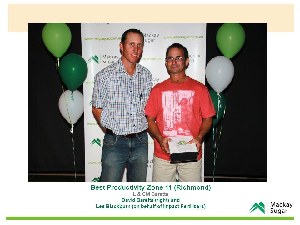 Best Productivity Zone 11 (Richmond) L & CM Baretta David Baretta (right) and Lee Blackburn (on behalf of Impact Fertilisers)
