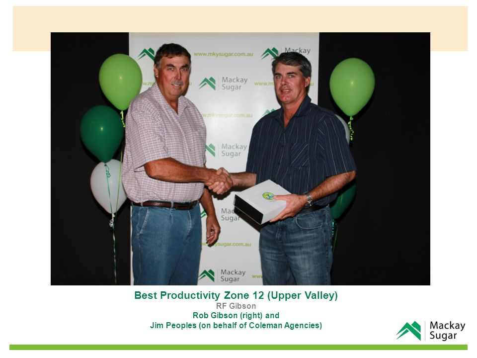 Best Productivity Zone 12 (Upper Valley) RF Gibson Rob Gibson (right) and Jim Peoples (on behalf of Coleman Agencies)