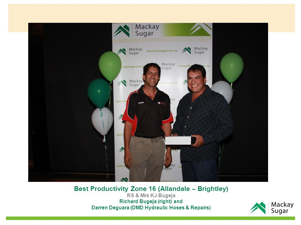 Best Productivity Zone 16 (Allandale – Brightley) RS & Mrs KJ Bugeja Richard Bugeja (right) and Darren Deguara (DMD Hydraulic Hoses & Repairs)