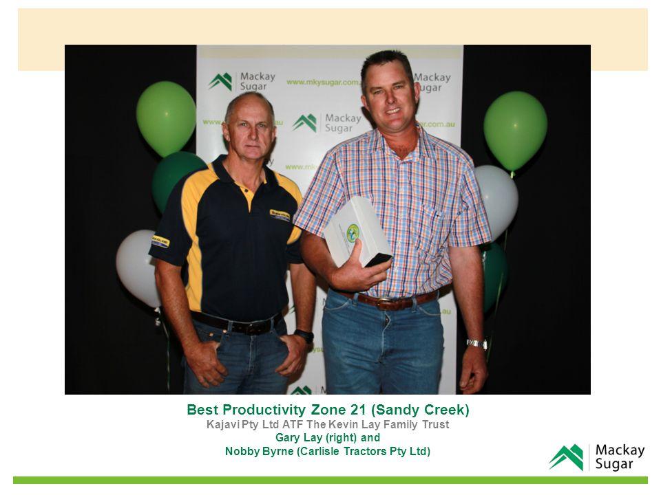 Best Productivity Zone 21 (Sandy Creek) Kajavi Pty Ltd ATF The Kevin Lay Family Trust Gary Lay (right) and Nobby Byrne (Carlisle Tractors Pty Ltd)