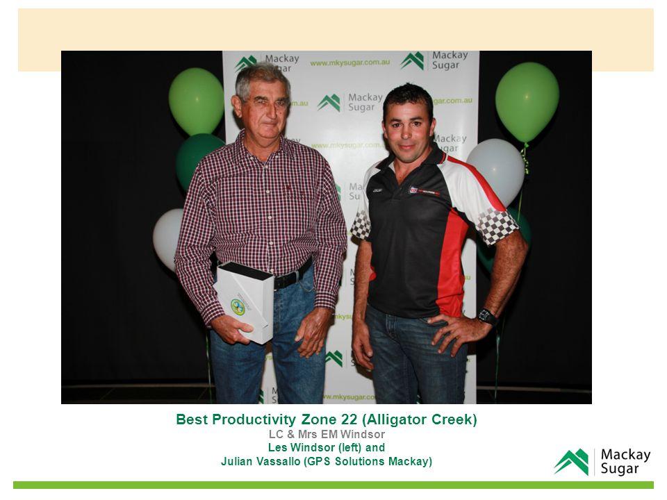 Best Productivity Zone 22 (Alligator Creek) LC & Mrs EM Windsor Les Windsor (left) and Julian Vassallo (GPS Solutions Mackay)