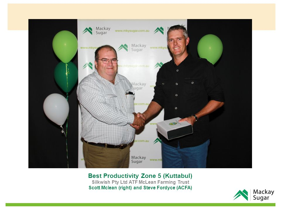 In Appreciation for On Farm Research Mount Catherine Co-op Ltd John Fox (left) and Dave Hindle (Crokers Fuel & Oils Pty Ltd)
