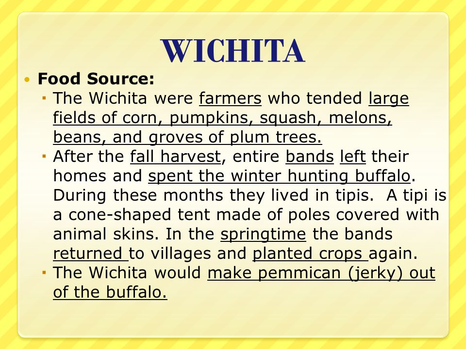 WICHITA Food Source:  The Wichita were farmers who tended large fields of corn, pumpkins, squash, melons, beans, and groves of plum trees.  After th