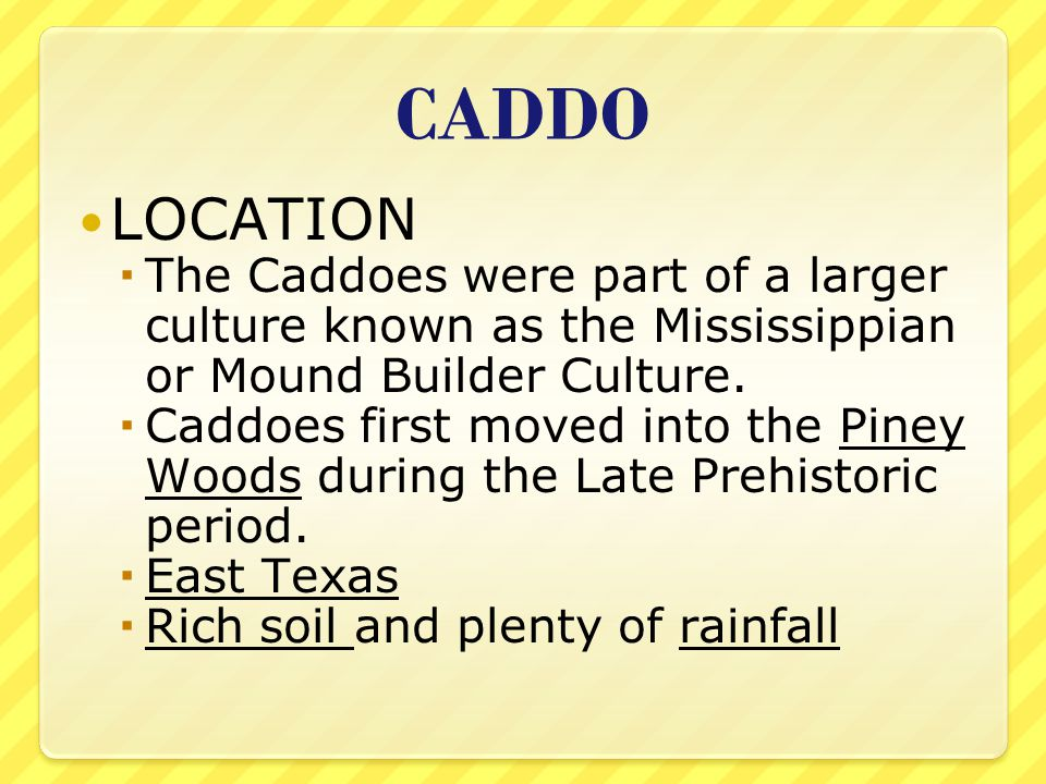 CADDO LOCATION  The Caddoes were part of a larger culture known as the Mississippian or Mound Builder Culture.  Caddoes first moved into the Piney W