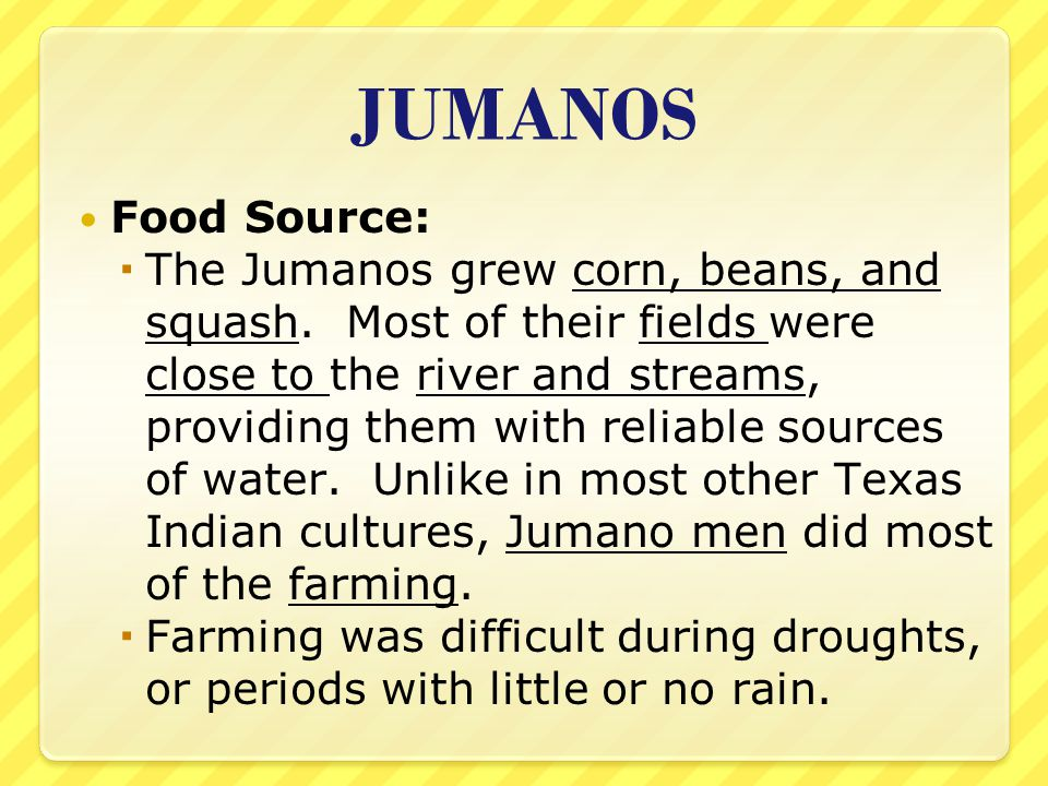 JUMANOS Food Source:  The Jumanos grew corn, beans, and squash. Most of their fields were close to the river and streams, providing them with reliabl