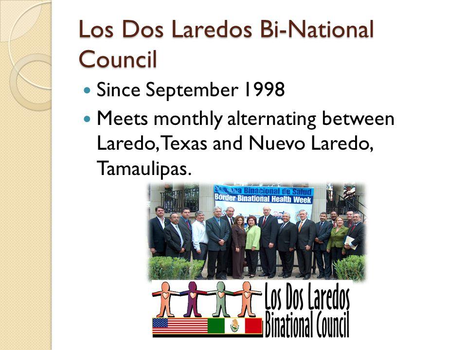 Los Dos Laredos Bi-National Council Since September 1998 Meets monthly alternating between Laredo, Texas and Nuevo Laredo, Tamaulipas.