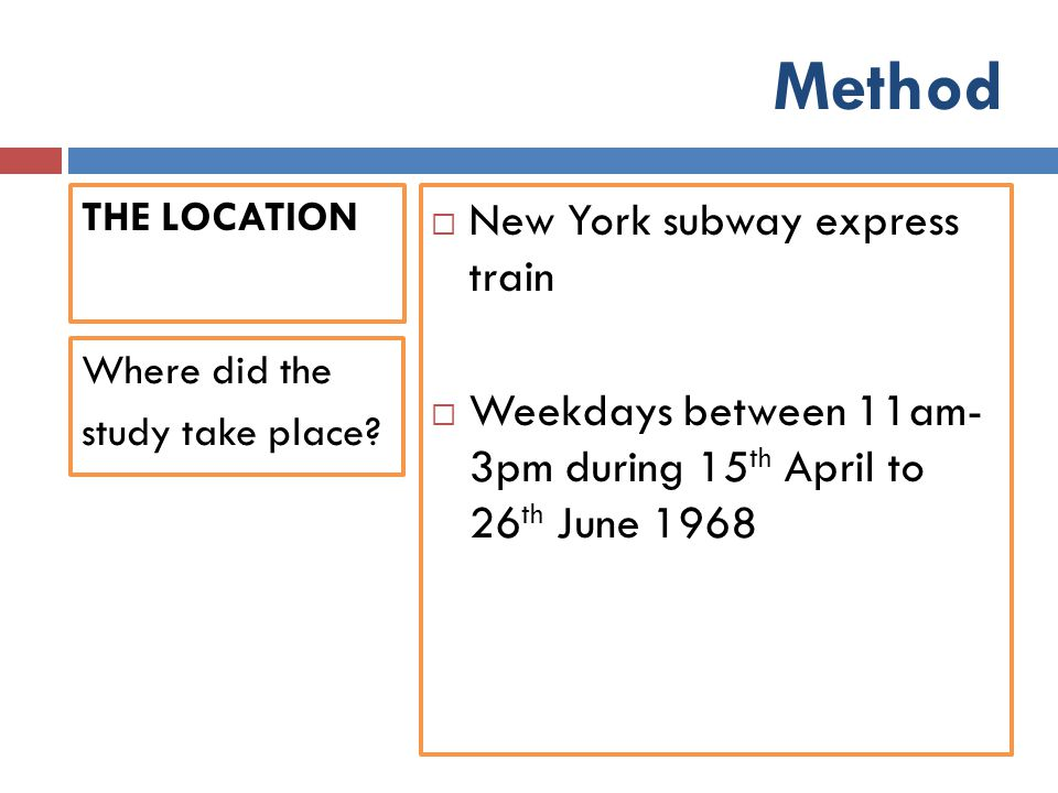 Method THE LOCATION  New York subway express train  Weekdays between 11am- 3pm during 15 th April to 26 th June 1968 Where did the study take place?