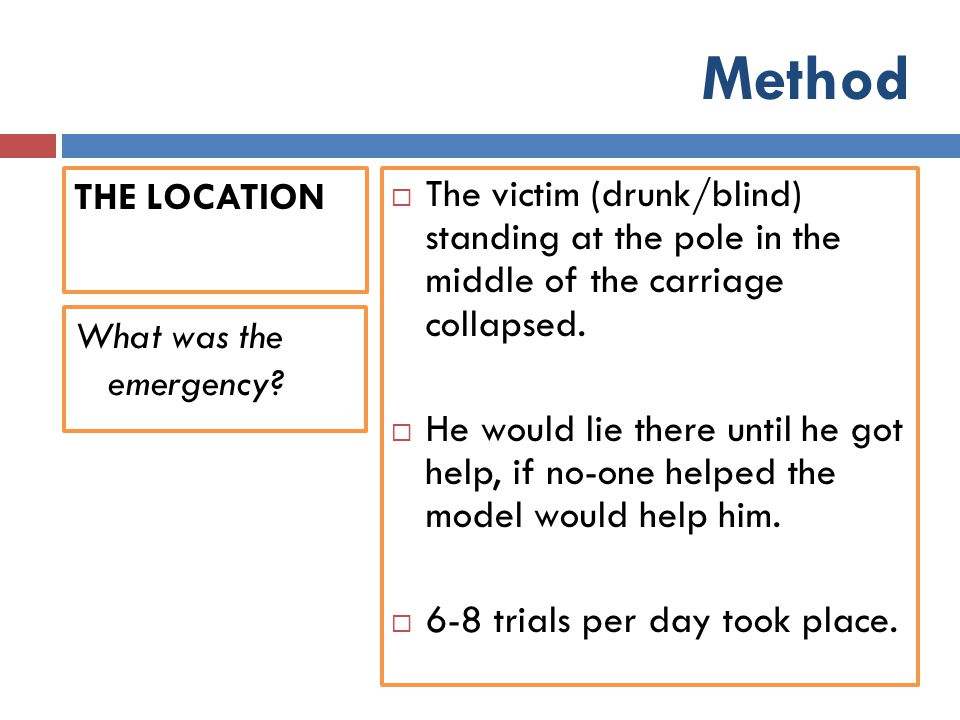 Method THE LOCATION  The victim (drunk/blind) standing at the pole in the middle of the carriage collapsed.  He would lie there until he got help, i