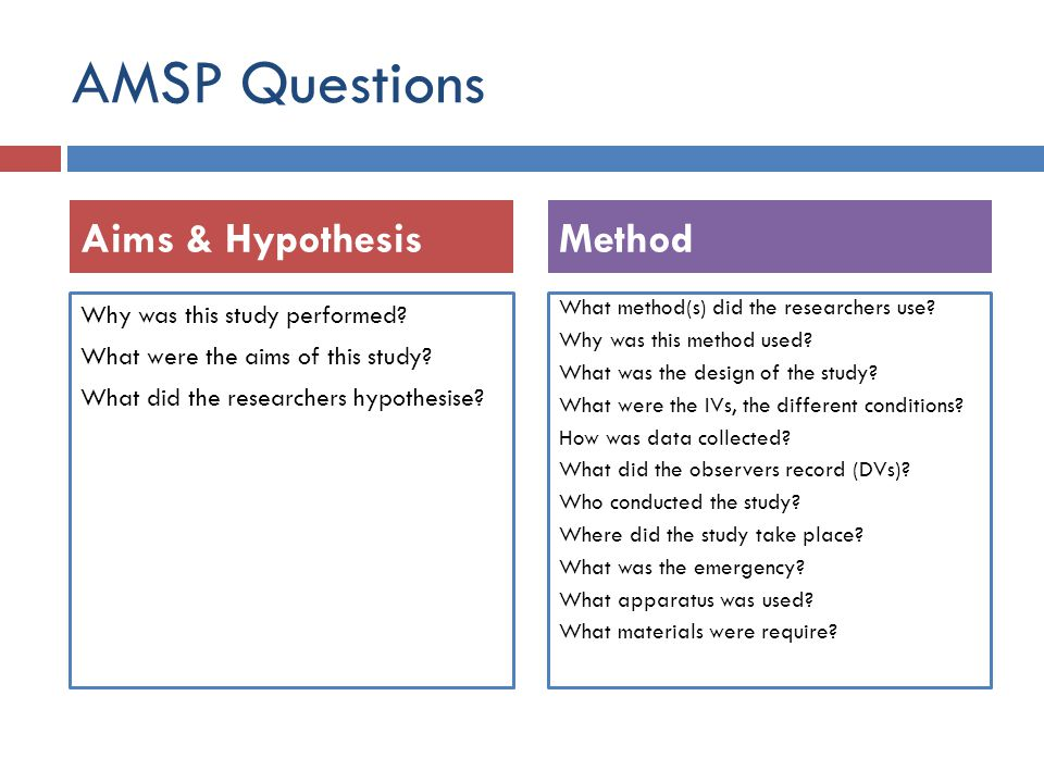 AMSP Questions Why was this study performed? What were the aims of this study? What did the researchers hypothesise? What method(s) did the researcher