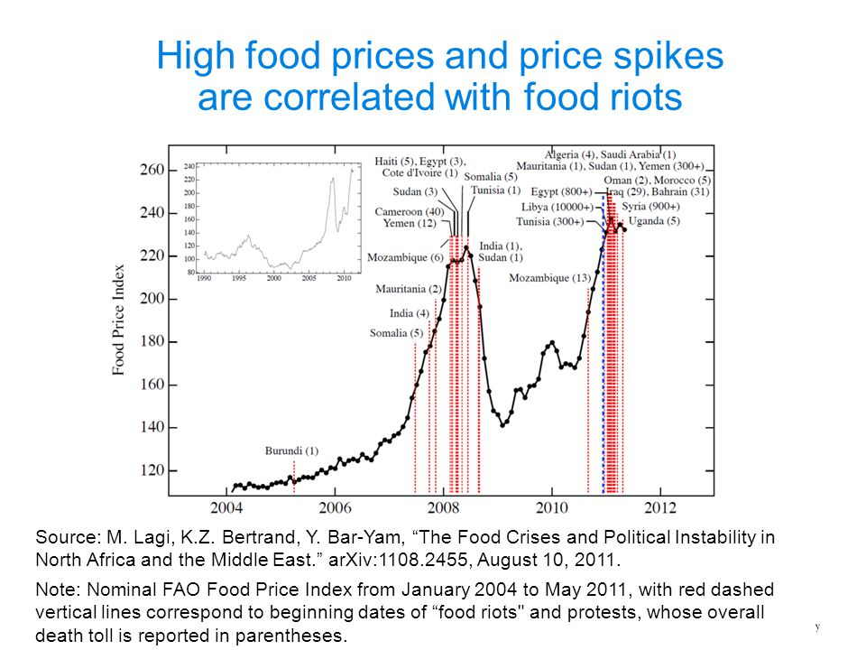 High food prices and price spikes are correlated with food riots Note: Nominal FAO Food Price Index from January 2004 to May 2011, with red dashed ver