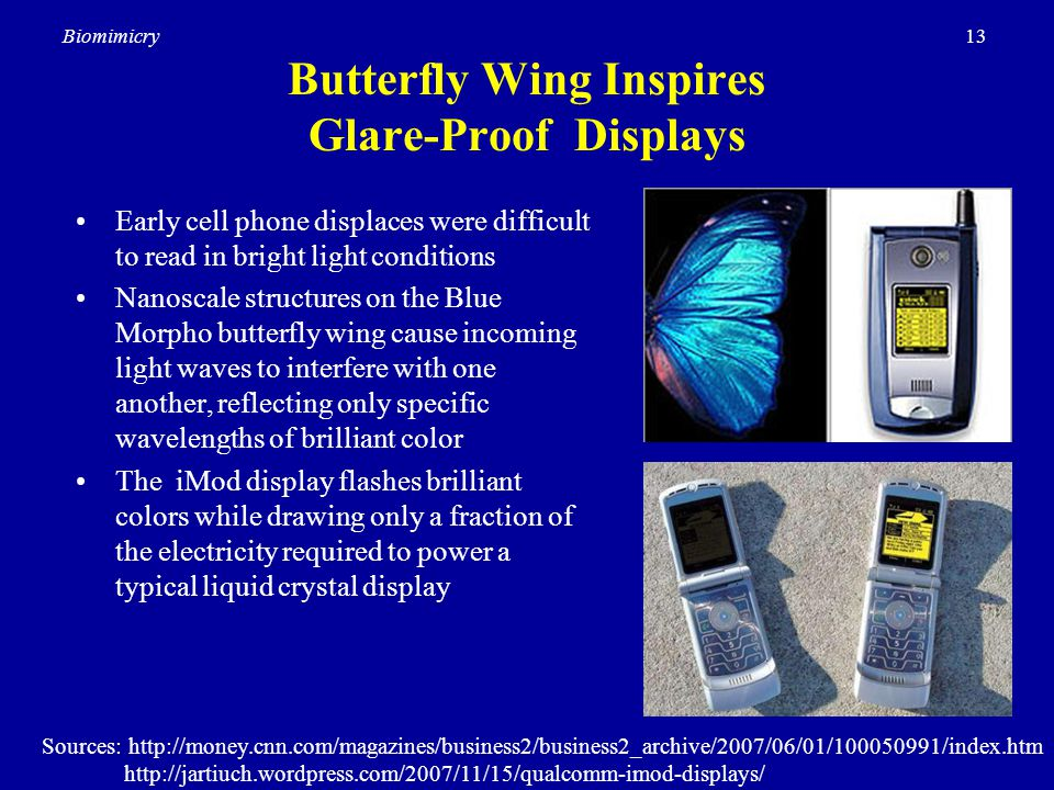 13Biomimicry Butterfly Wing Inspires Glare-Proof Displays Early cell phone displaces were difficult to read in bright light conditions Nanoscale structures on the Blue Morpho butterfly wing cause incoming light waves to interfere with one another, reflecting only specific wavelengths of brilliant color The iMod display flashes brilliant colors while drawing only a fraction of the electricity required to power a typical liquid crystal display Sources: http://money.cnn.com/magazines/business2/business2_archive/2007/06/01/100050991/index.htm http://jartiuch.wordpress.com/2007/11/15/qualcomm-imod-displays/