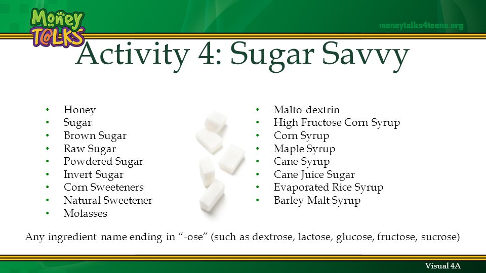 Honey Sugar Brown Sugar Raw Sugar Powdered Sugar Invert Sugar Corn Sweeteners Natural Sweetener Molasses Malto-dextrin High Fructose Corn Syrup Corn Syrup Maple Syrup Cane Syrup Cane Juice Sugar Evaporated Rice Syrup Barley Malt Syrup Any ingredient name ending in -ose (such as dextrose, lactose, glucose, fructose, sucrose) Visual 4A