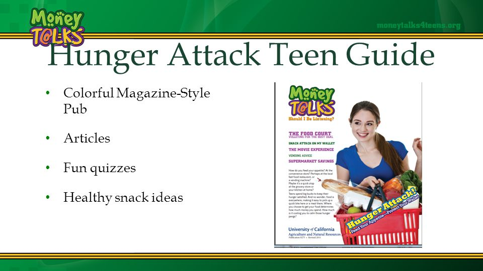 Hunger Attack Teen Guide Colorful Magazine-Style Pub Articles Fun quizzes Healthy snack ideas